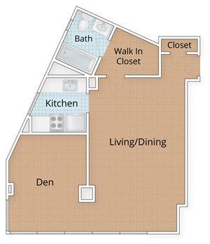 Diplomat Apartments Washington Dc Studio With Den Floor Plan