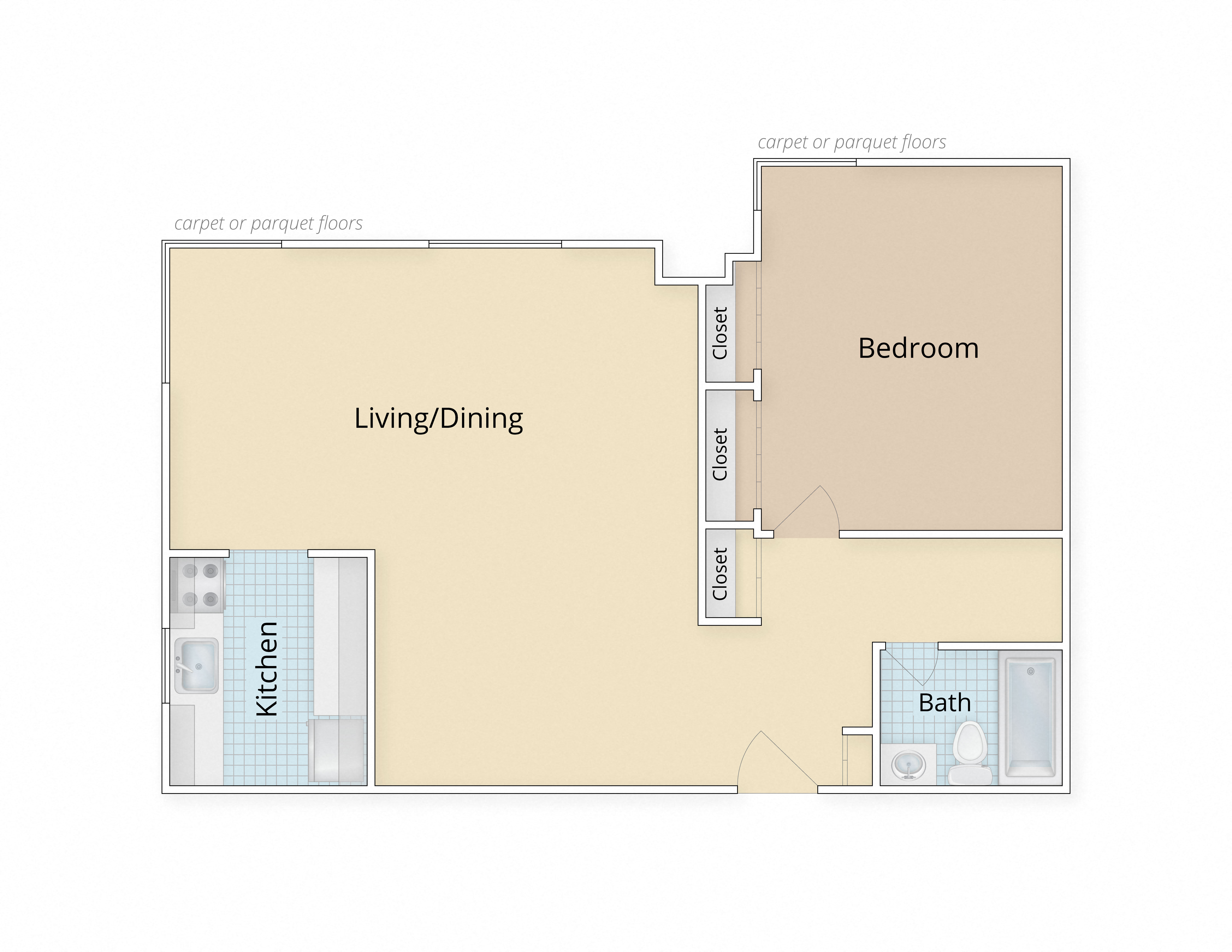 Legation House Apartments Washington DC One Bedroom Floor Plan