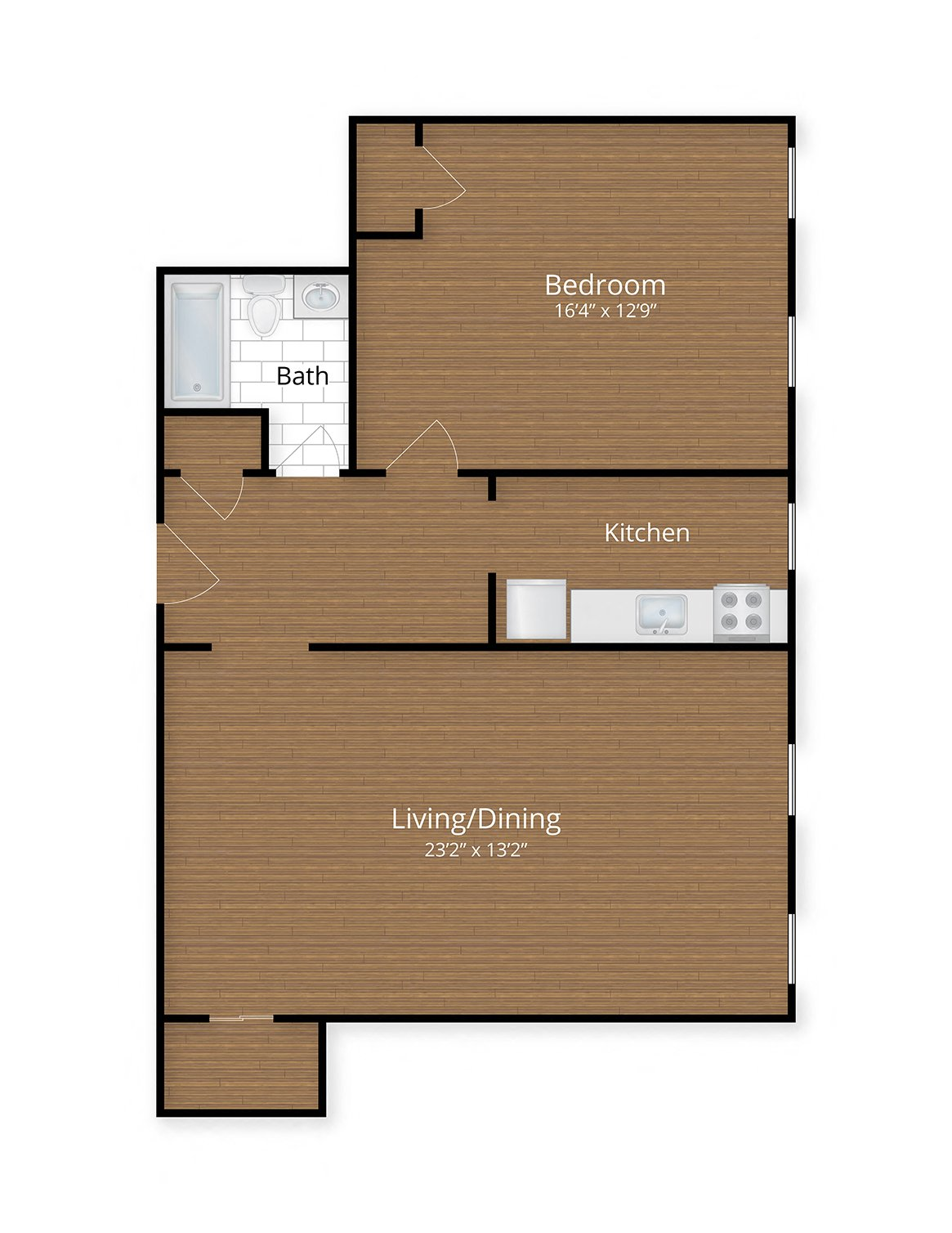 President Madison Apartments Washington DC One Bedroom Floor Plan