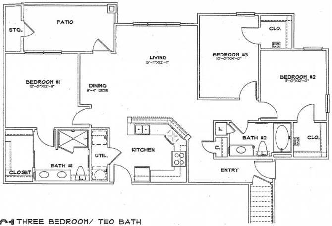 3 bed / 2 bath - C1