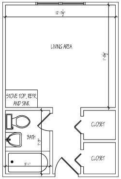 Efficiency studio Floor Plan 1
