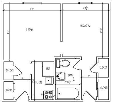 Small One Bedroom Floor Plan 2