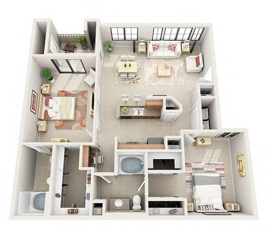 The Manchester Two Bedroom Two Bathroom Apartment