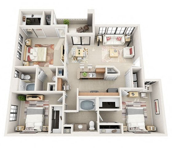 The Westminister Three Bedroom Two Bathroom Apartment