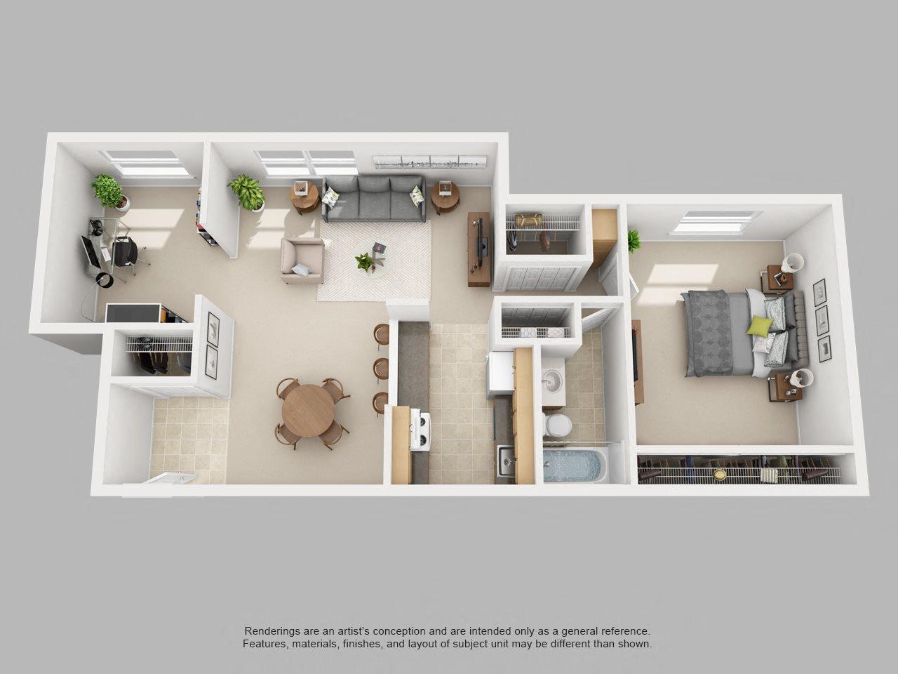 1BR-W/DEN Floor Plan 2