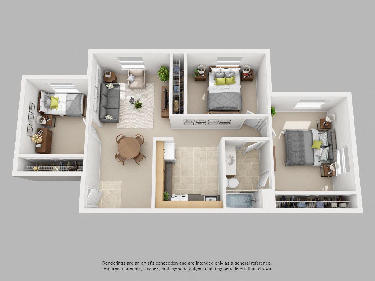 3 BR Floor Plan 4