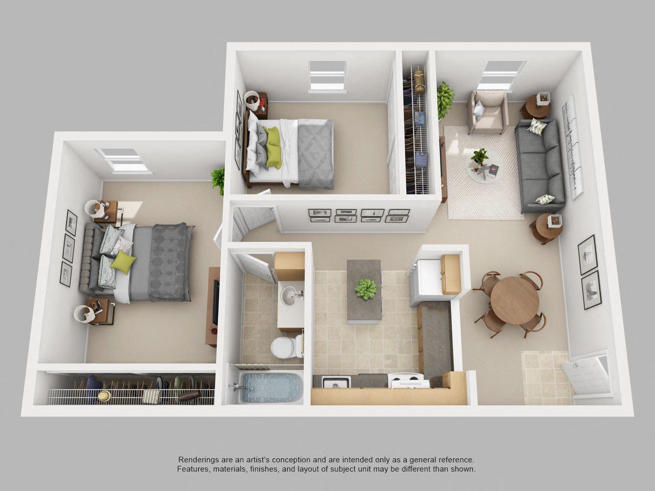 2BR-A Floor Plan 3