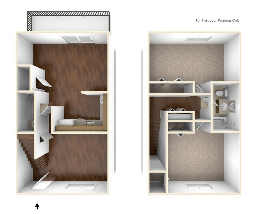 Two Bedroom Townhouse Floor Plan Rolling Green Apartments