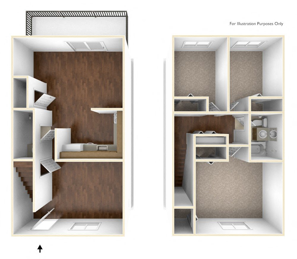 Three Bedroom Townhouse Floor Plan Rolling Green Apartments