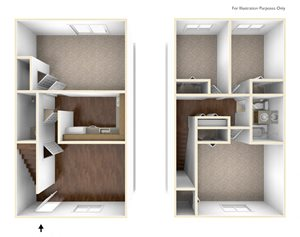 Four Bedroom Townhouse Floor Plan Rolling Green Apartments