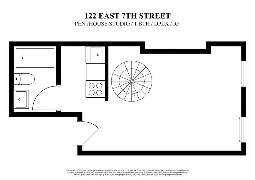 2D floor plan of penthouse studio at 122 East 7th Street New York with private roof deck