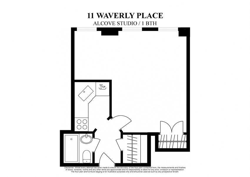 2D floor plan of alcove studio at 11 Waverly Place