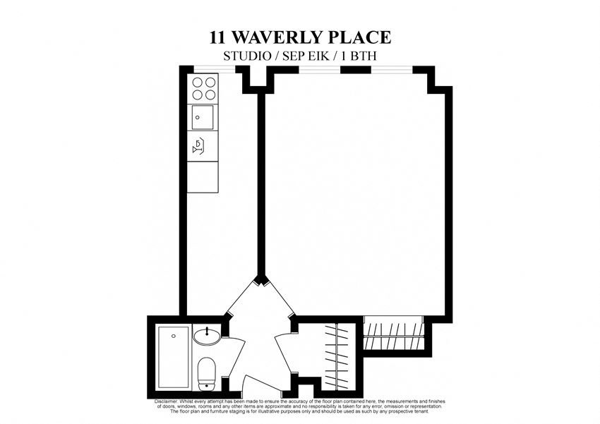2D floor plan for Studio with separate eat in kitchen at 11 Waverly Place New York