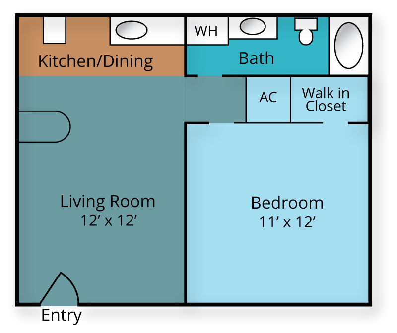 1/bed 1/bath Floor Plan 1