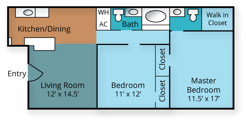 2/bed 2/bath Floor Plan 2