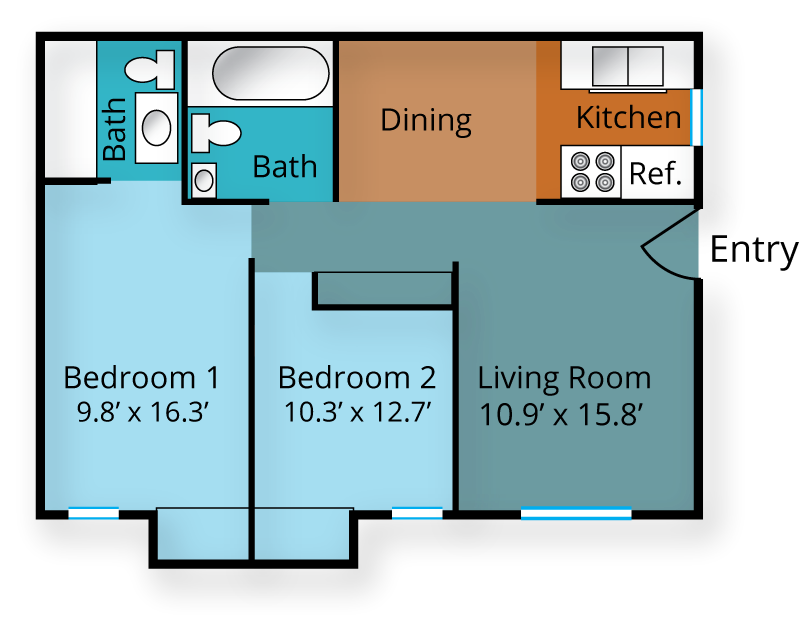 Two Bedroom, One & Half Bath Floor Plan 2