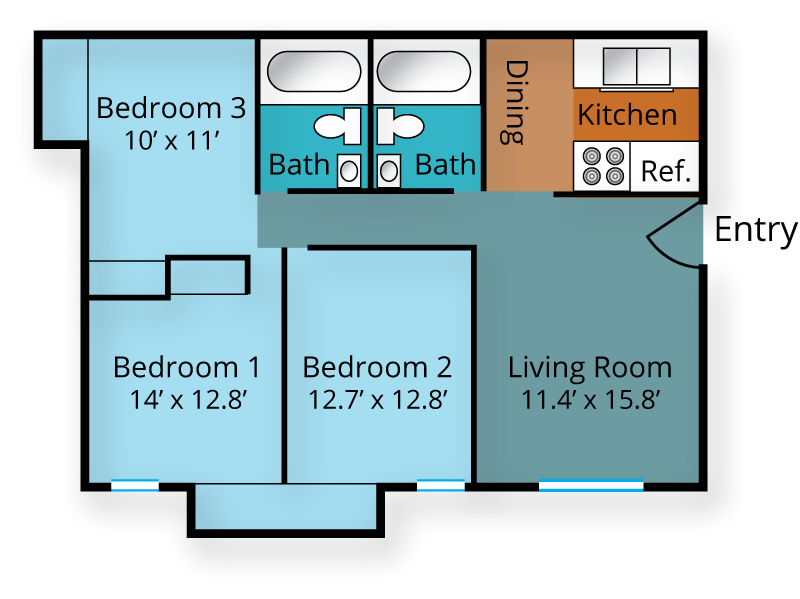 Three Bedroom, Two Bath Floor Plan 3