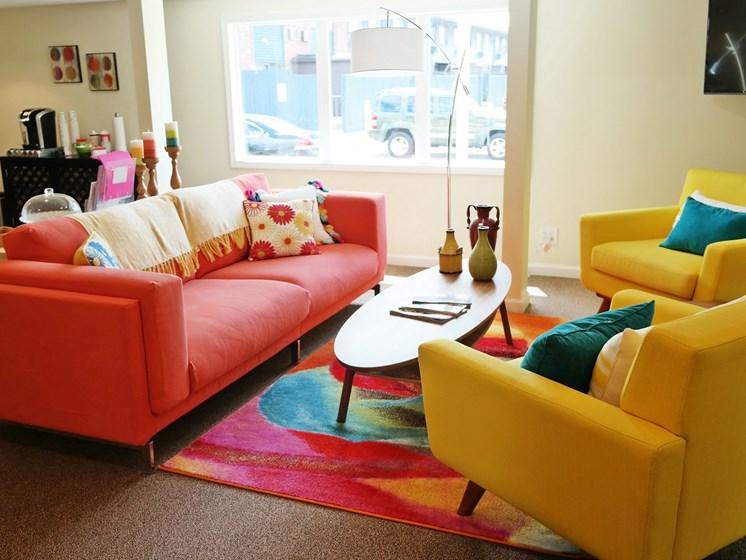 Comfortable Sofa at Kingston Square Apartments, Indianapolis, IN, 46226