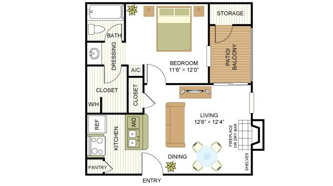 Plan A1 One Bed One Bath 525 Sq.ft. FloorPlan at Peppermill Apartments, CLEAR Property Management, Universal City, TX, 78148