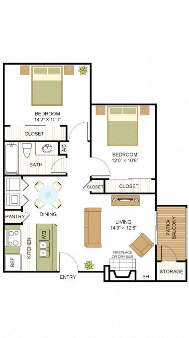 Plan B1 Two Bed One Bath 800 Sq.ft. FloorPlan at Peppermill, Universal City, Texas