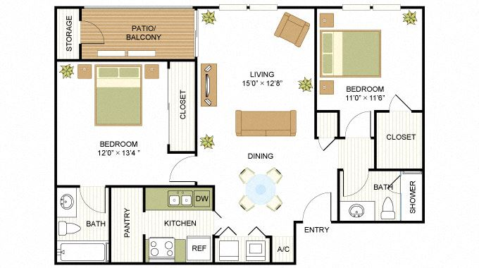 Plan C2 Two Bed Two Bath 908 Sq.ft. FloorPlan at Peppermill, Texas, 78148