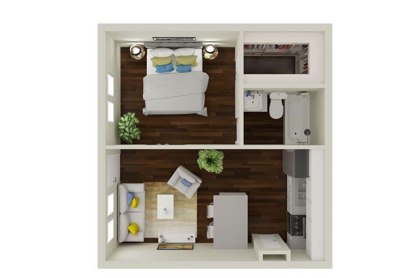 A1 Floor Plan at Sunridge Apartments, Clear Property Management, Grand Prairie, TX, 75051