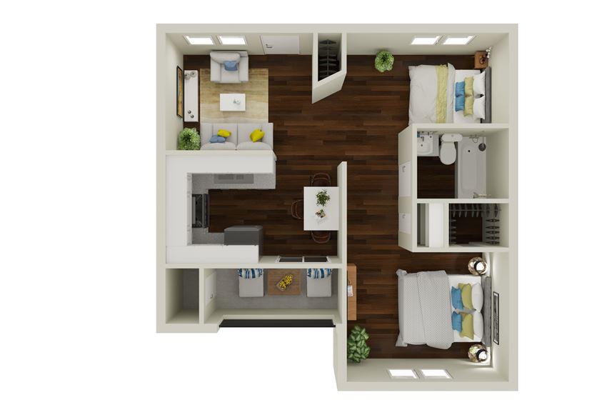 B1 Floor Plan at Sunridge Apartments, Clear Property Management, Grand Prairie, TX