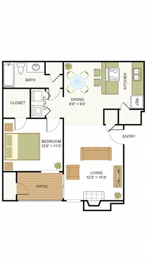 A2 1 Bedroom 1 Bath Floorplan at Sunset Canyon, San Antonio