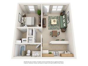 Pheasant Run Apartment Homes - 1 Bedroom 1 Bath Apartment