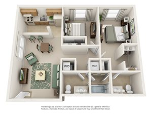 Pheasant Run Apartment Homes - 2 Bedroom 1.5 Bath Apartment