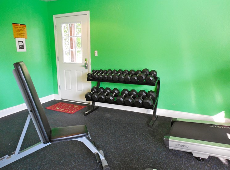 Free Weights in our new Fitness Center at Prairie Walk Apartments in Kansas City, MO and in South Kansas City, MO