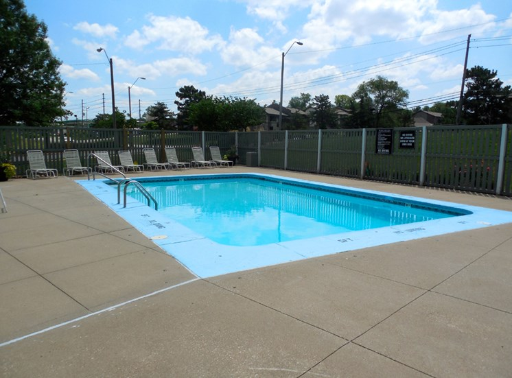 Sparkling Pool at Prairie Walk Apartments in Kansas City, MO and in South Kansas City, MO