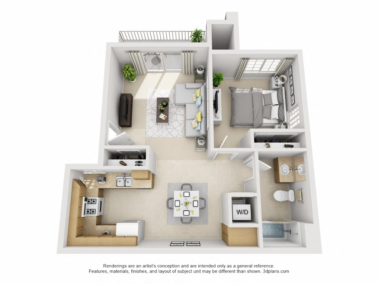 1 Bedroom, 1 Bath Upstairs Floor Plan 2