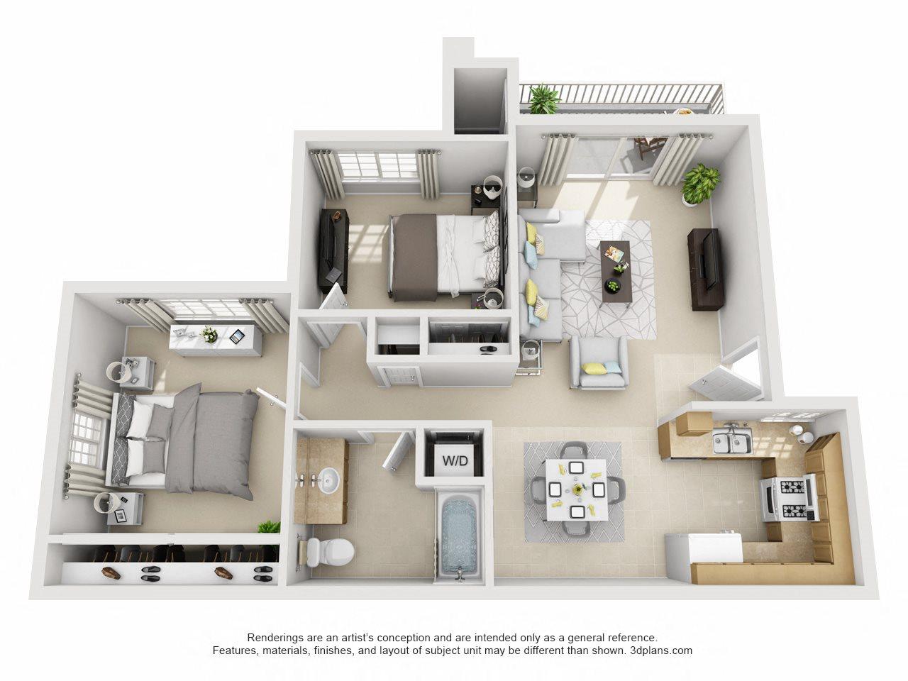 2 Bedroom, 1 Bath Downstairs Floor Plan 3