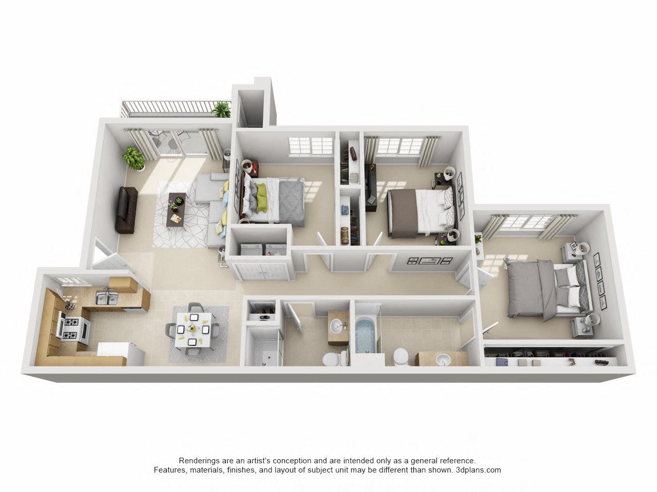 3 Bedroom, 2 Bath Downstairs Floor Plan 7