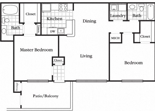 2 Bedroom 2 Bath Standard Floor Plan 4