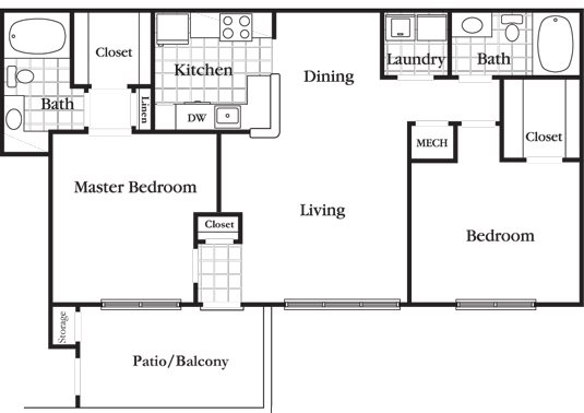 2 Bedroom 2 Bath Deluxe Floor Plan 6