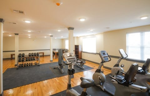 Gym and Fitness Center with dumbbells, exercise bikes and bench