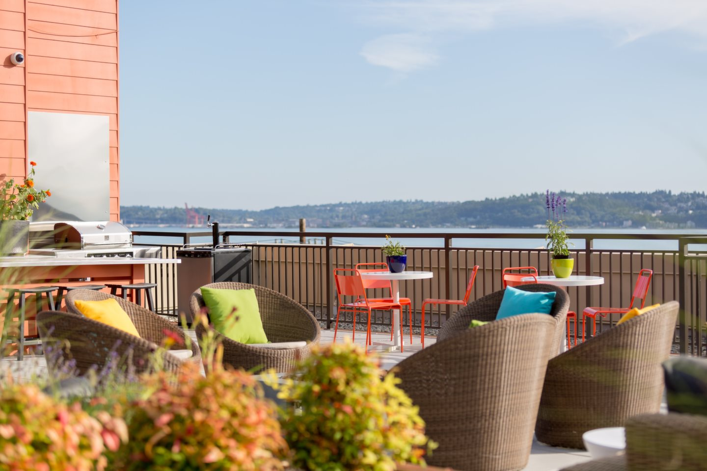 Roof top deck with barbecue and green roof at Canvas Apartments, Seattle, WA,98119