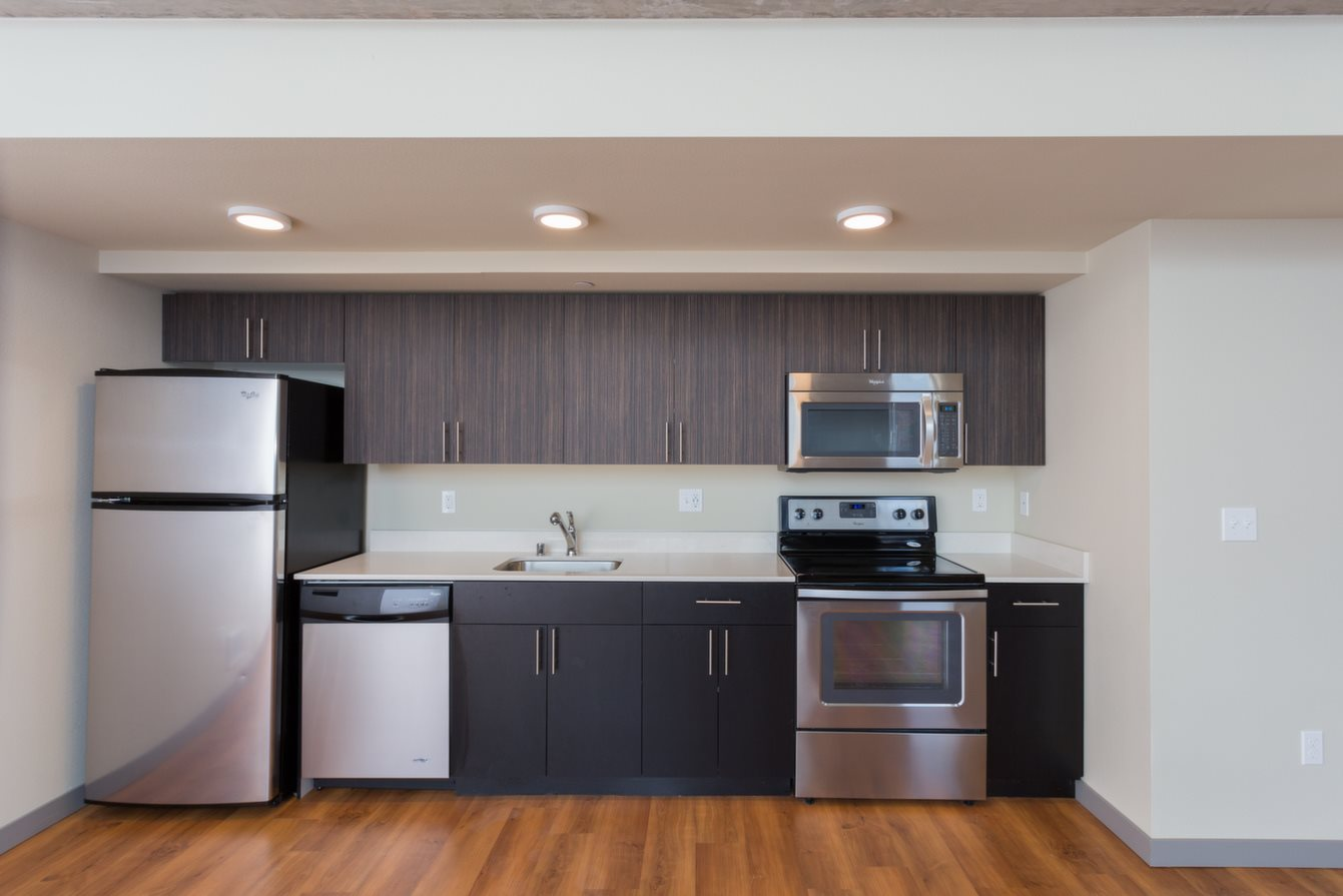 Fully equipped kitchen at Canvas Apartments, Seattle, WA,98119