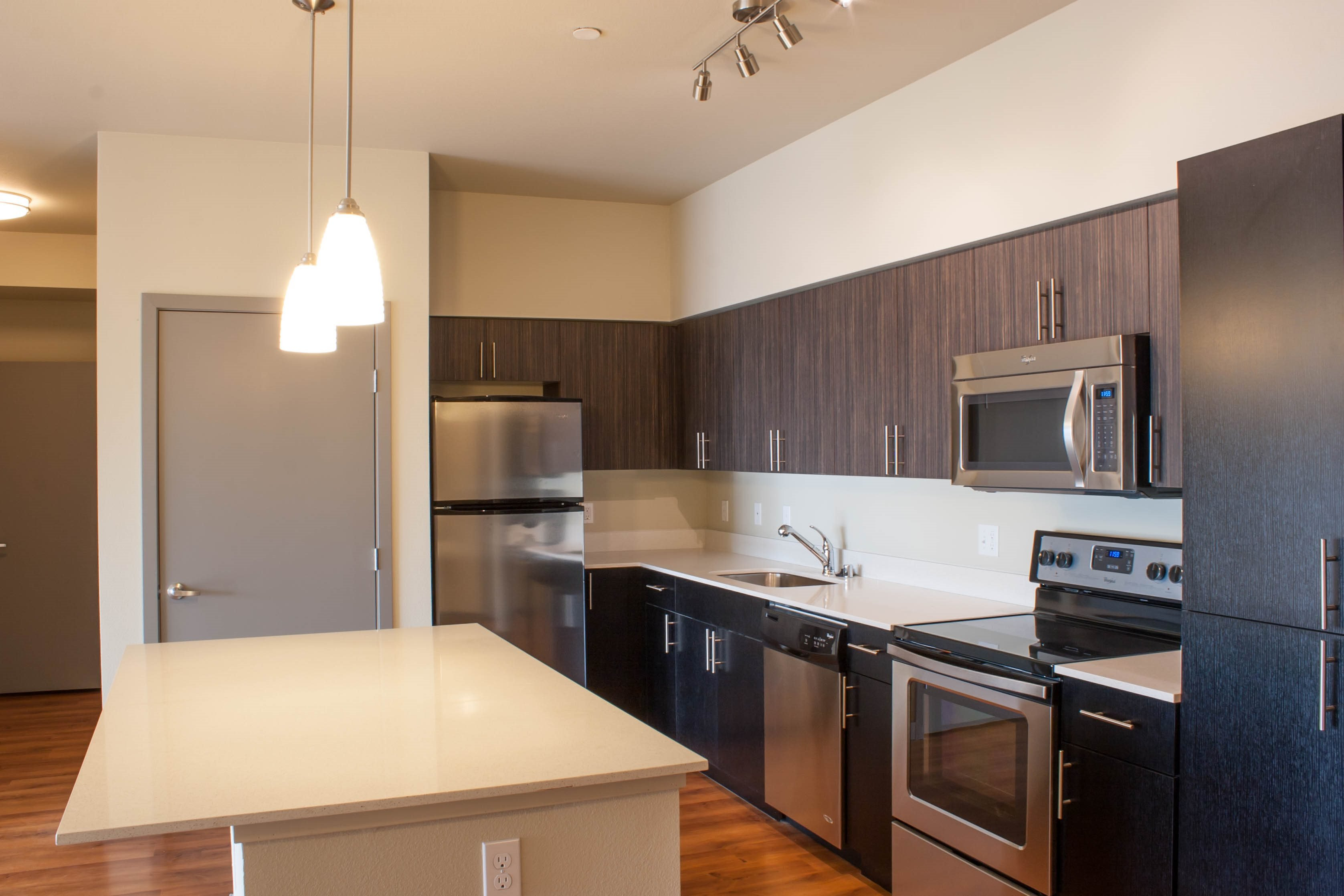 Designer kitchens at Canvas Apartments, Seattle, WA,98119