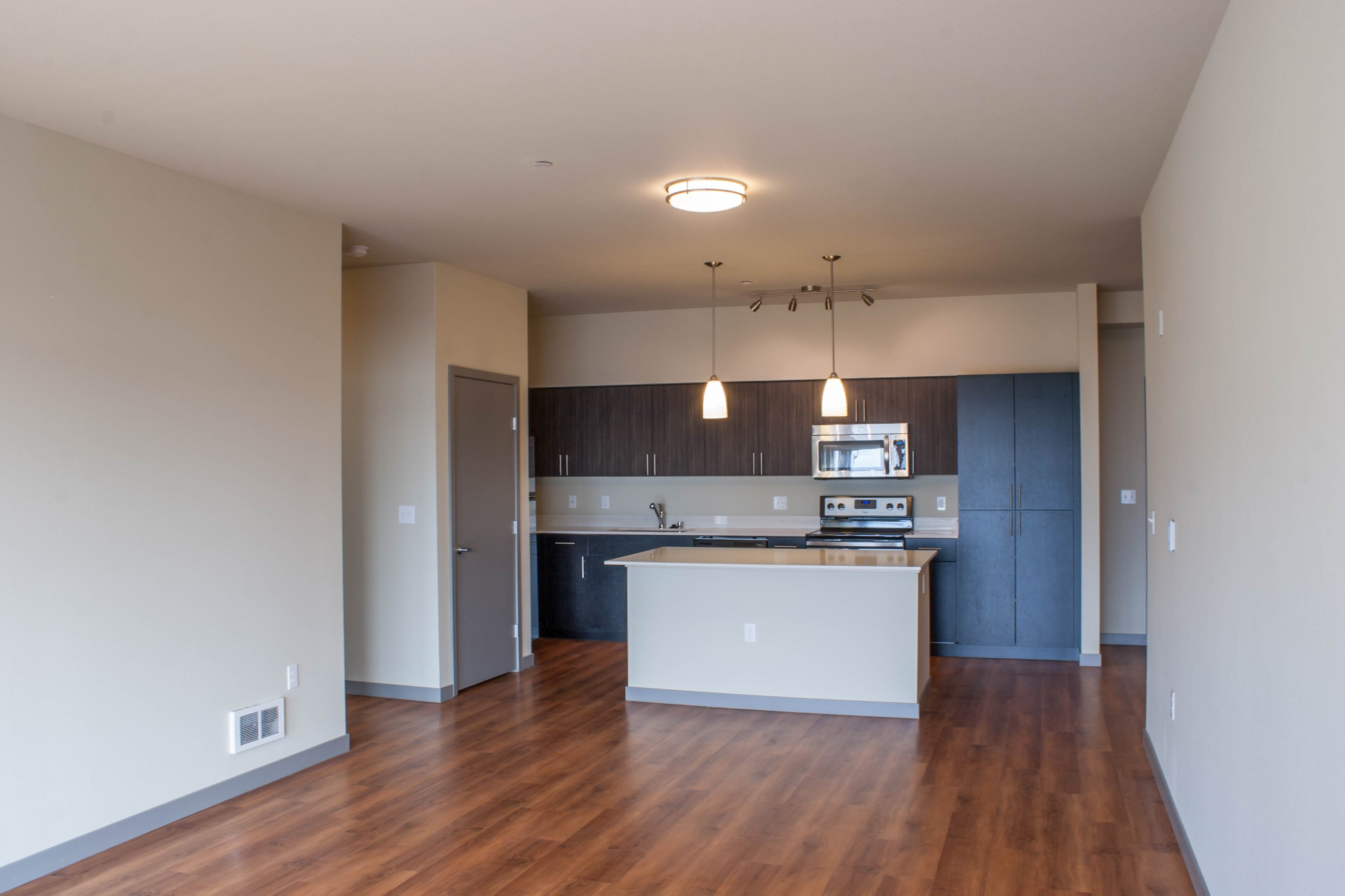 Designer kitchensat Canvas Apartments, Seattle, WA,98119