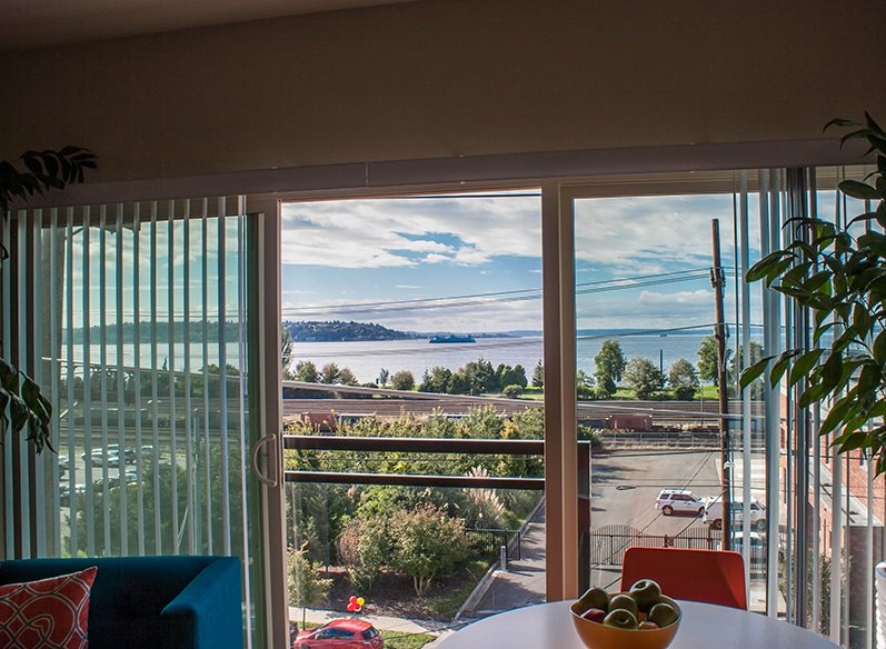 Views of Puget Sound and Olympic Mountains at Canvas Apartments, Seattle, WA,98119