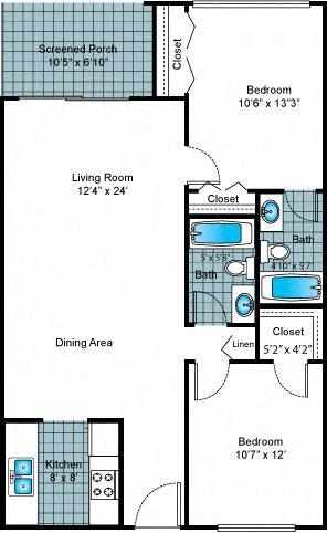Two Bedroom - Two Bath Standard Floor Plan 2
