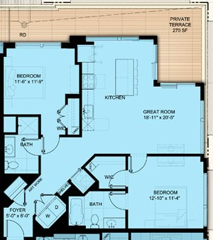 Two Bedroom 1,082 SF