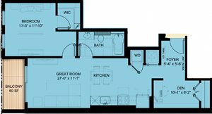 One Bedroom 801 SF