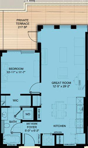 One Bedroom 747 SF