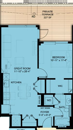 One Bedroom 721SF