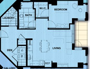One Bedroom with den 872 SF