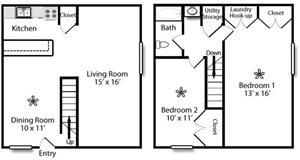 The Berkshire (2BR/1BA Townhome)